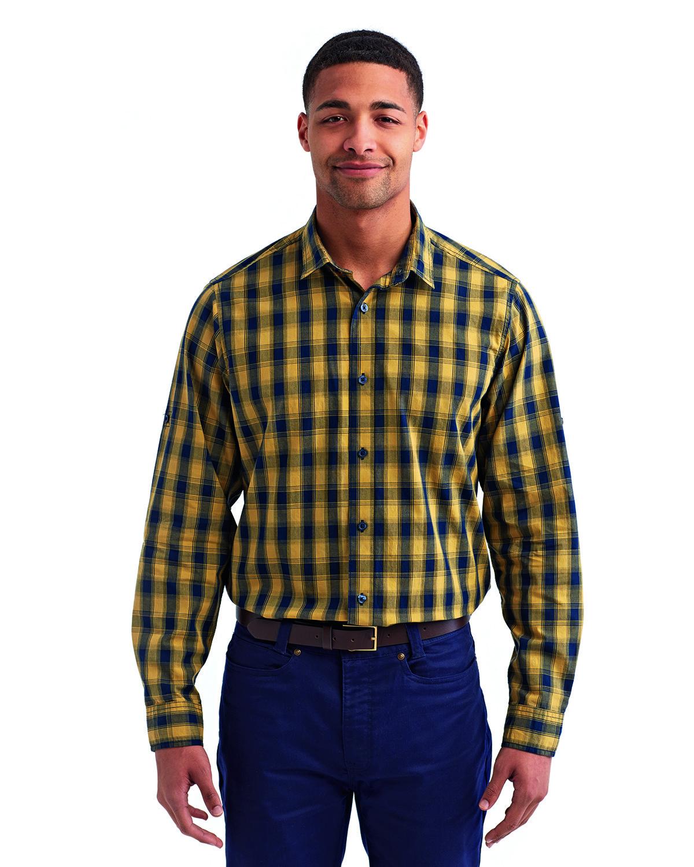 Artisan Collection by Reprime Men's Mulligan Check Long-Sleeve Cotton Shirt CAMEL/ NAVY