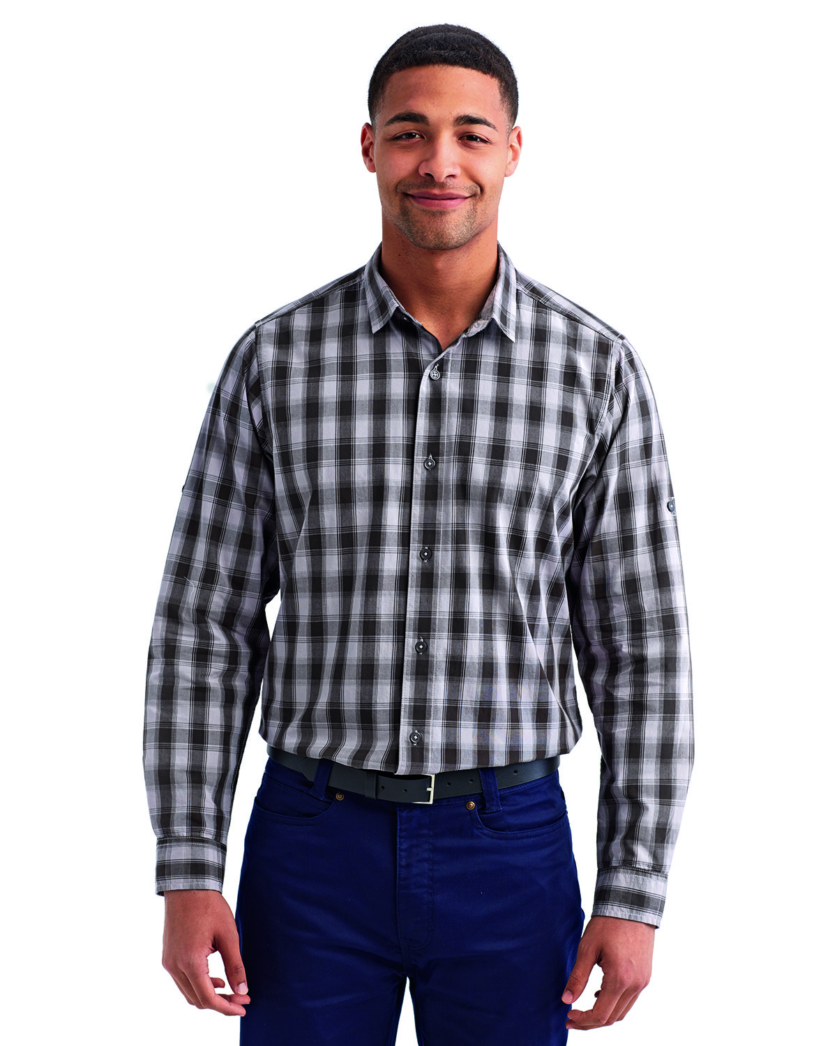 Artisan Collection by Reprime Men's Mulligan Check Long-Sleeve Cotton Shirt STEEL/ BLACK