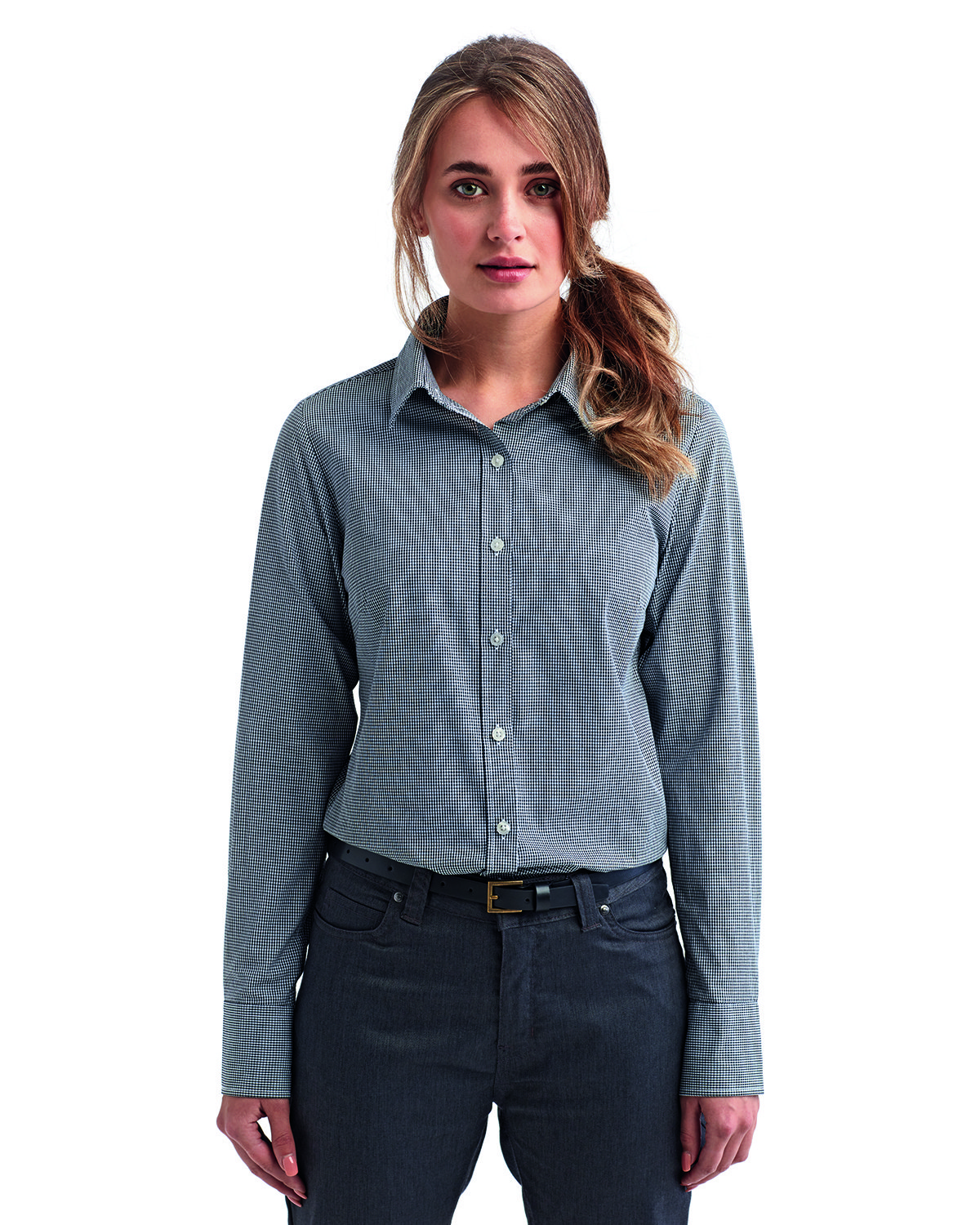 Artisan Collection by Reprime Ladies' Microcheck Gingham Long-Sleeve Cotton Shirt BLACK/ WHITE