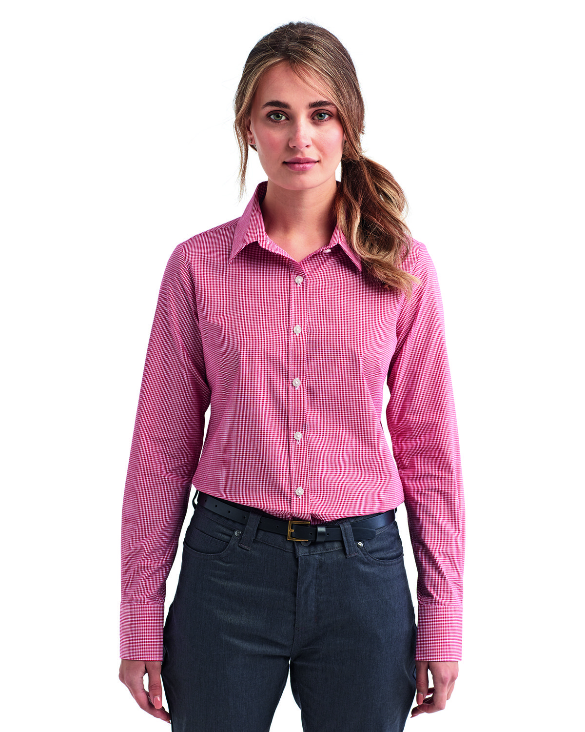 Artisan Collection by Reprime Ladies' Microcheck Gingham Long-Sleeve Cotton Shirt RED/ WHITE