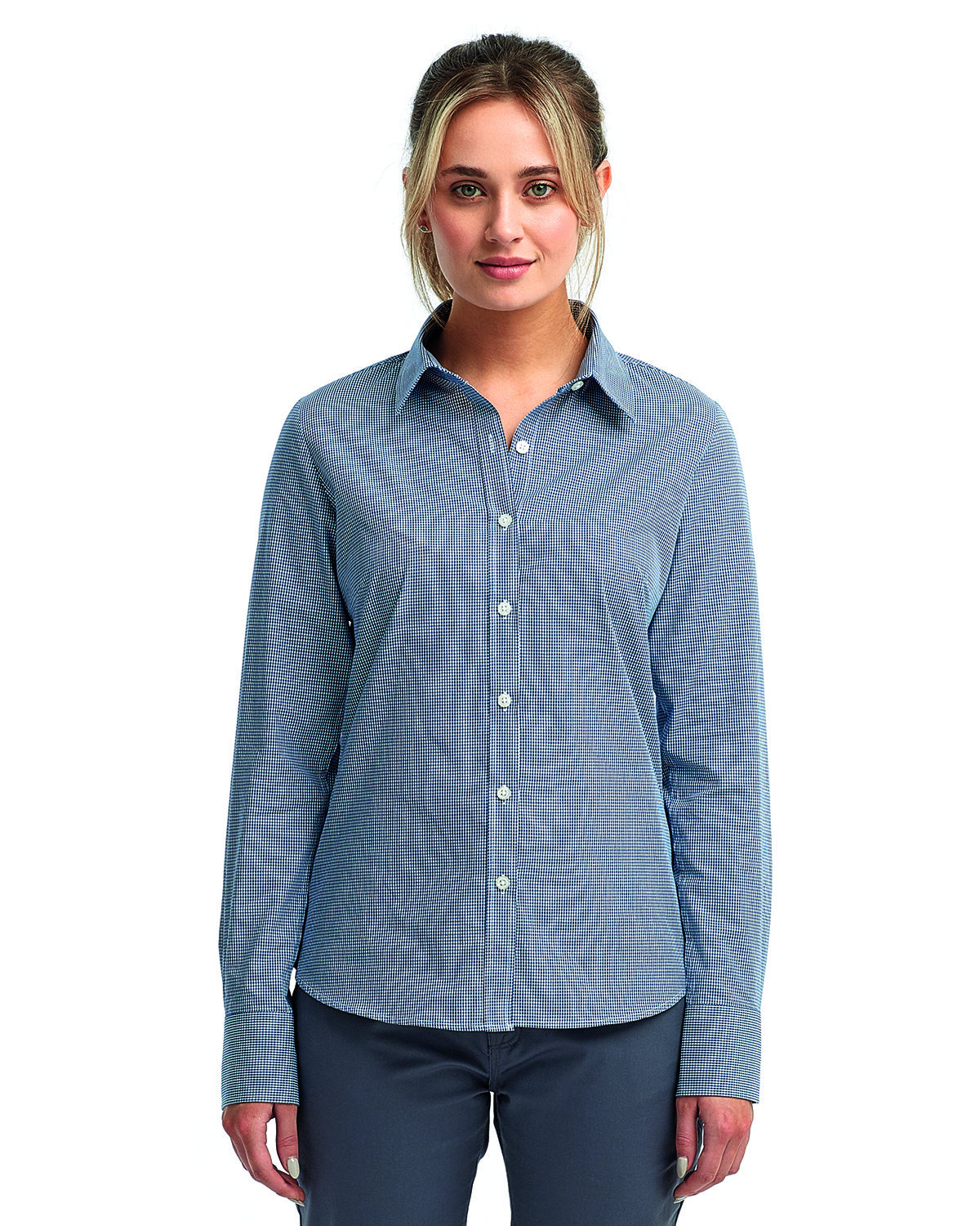 Artisan Collection by Reprime Ladies' Microcheck Gingham Long-Sleeve Cotton Shirt NAVY/ WHITE
