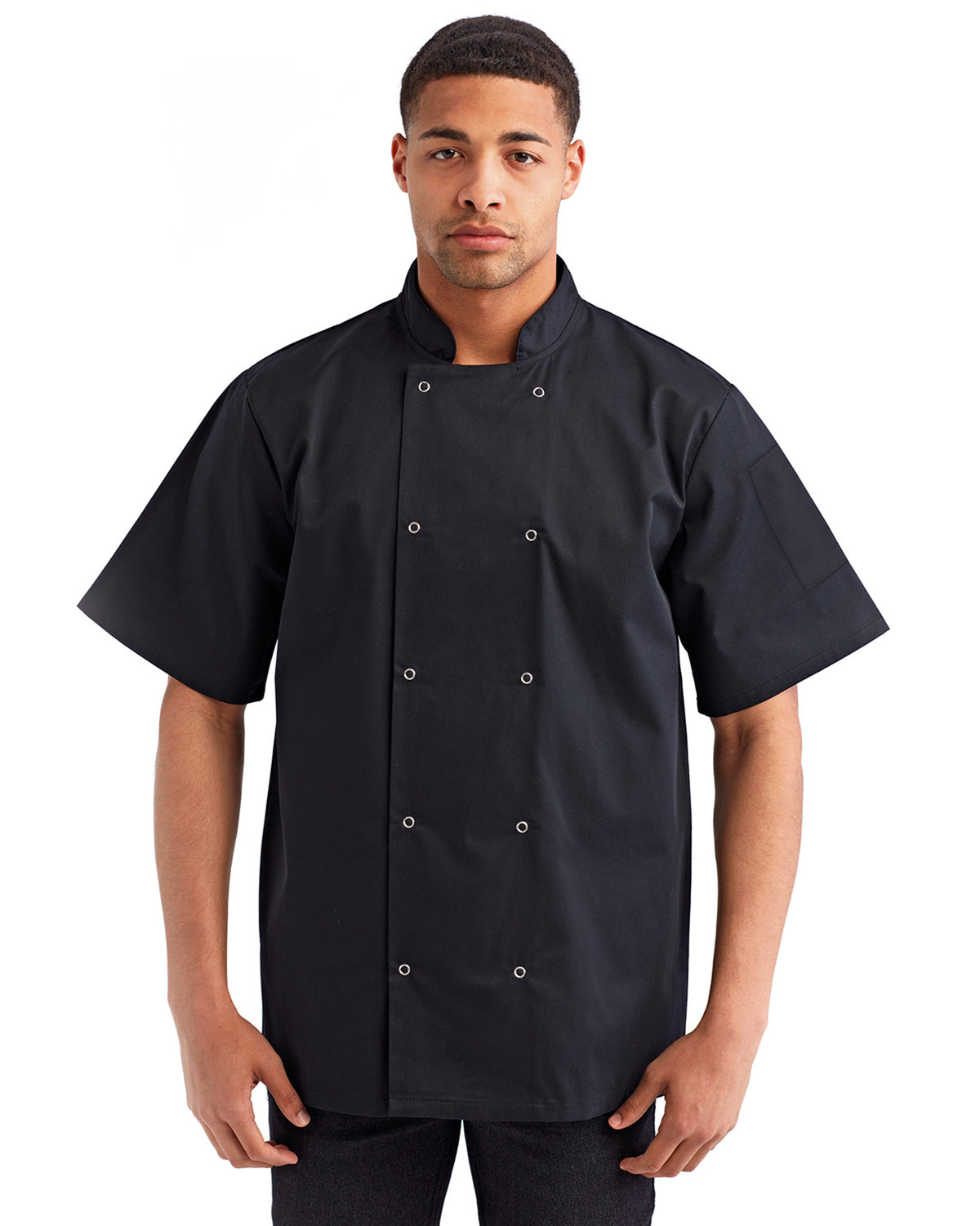 Artisan Collection by Reprime Unisex Studded Front Short-Sleeve Chef's Coat BLACK