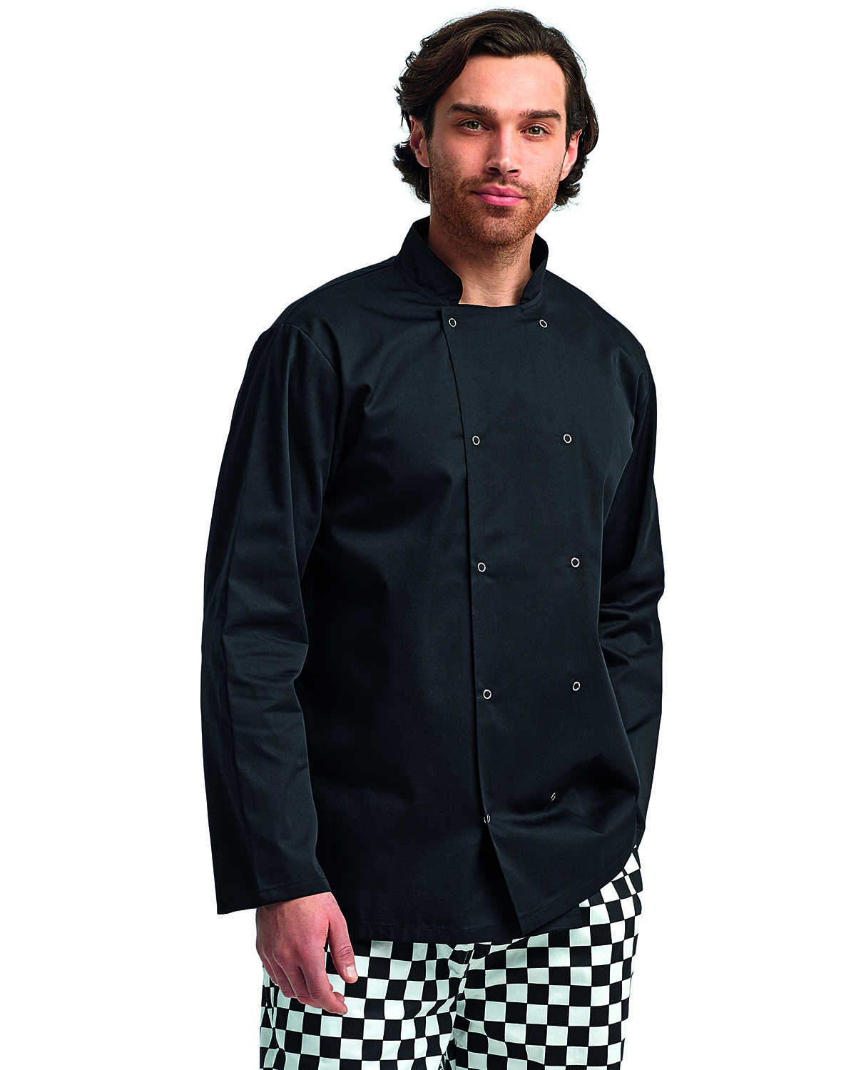 Artisan Collection by Reprime Unisex Studded Front Long-Sleeve Chef's Coat BLACK