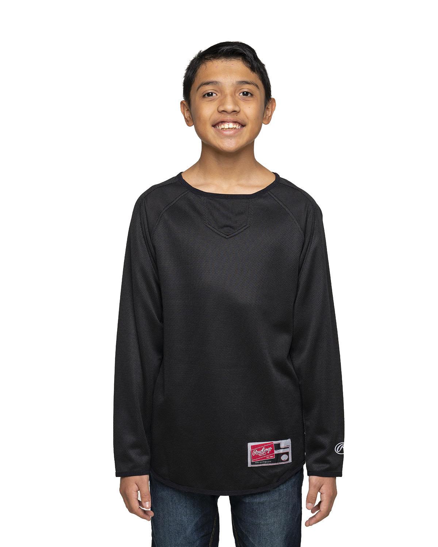 Rawlings Drop Ship Youth 8 oz., Polyester Fleece Crew BLACK