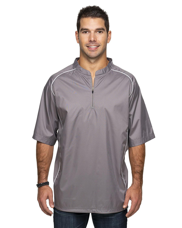 Rawlings Drop Ship Adult Short Sleeve 1/4-Zip Poly Dobby Jacket STEEL GREY