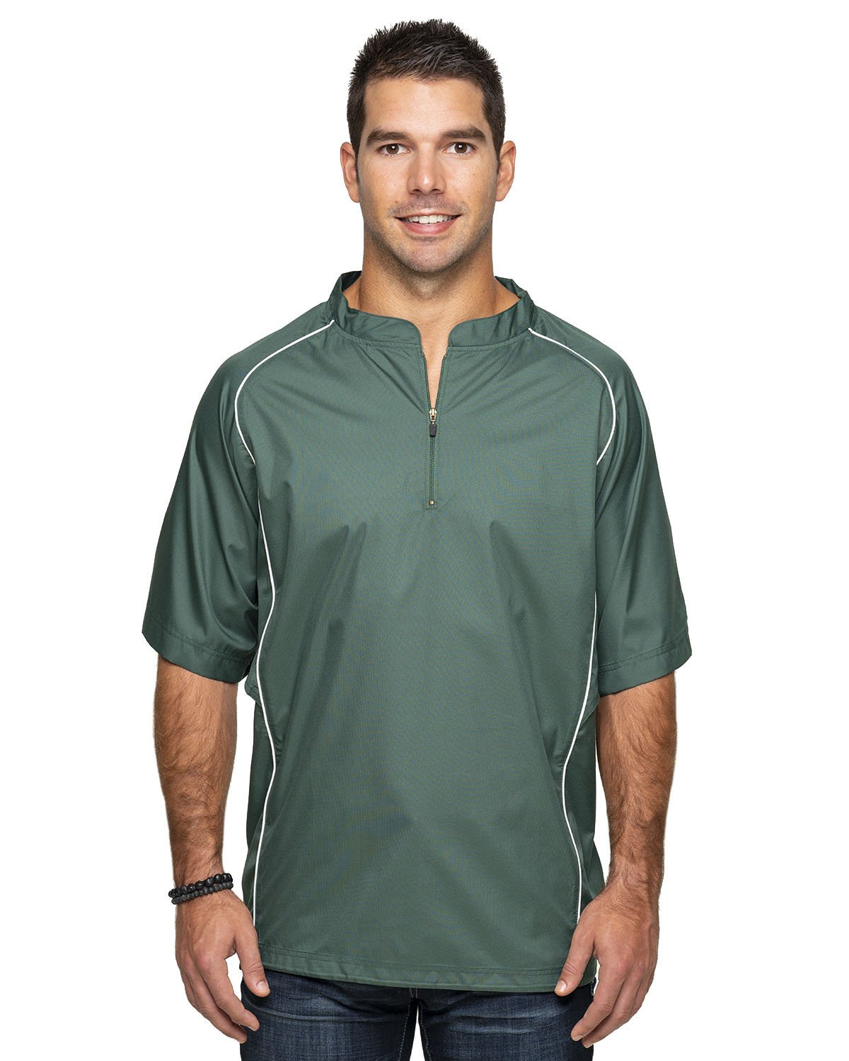 Rawlings Drop Ship Adult Short Sleeve 1/4-Zip Poly Dobby Jacket FOREST GREEN