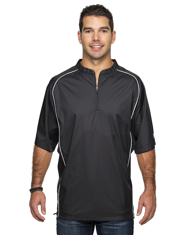 Rawlings Drop Ship Adult Short Sleeve 1/4-Zip Poly Dobby Jacket BLACK
