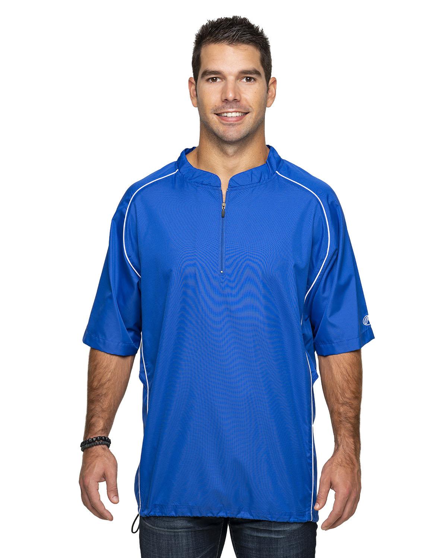 Rawlings Drop Ship Adult Short Sleeve 1/4-Zip Poly Dobby Jacket ROYAL