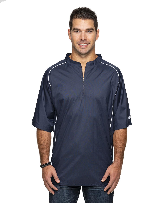 Rawlings Drop Ship Adult Short Sleeve 1/4-Zip Poly Dobby Jacket NAVY