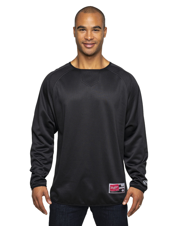 Rawlings Drop Ship Adult 8 oz., Polyester Fleece Crew BLACK