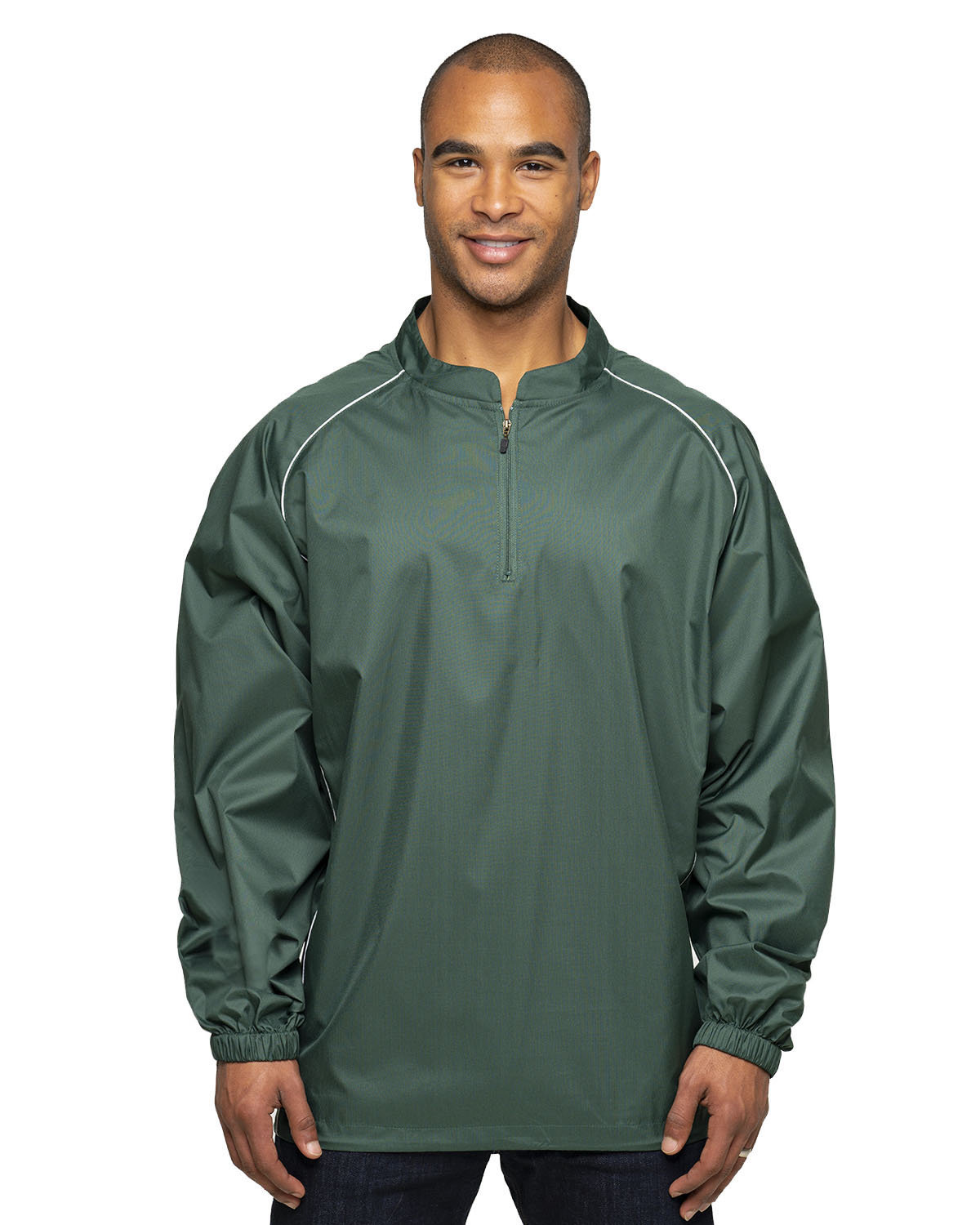 Rawlings Drop Ship Adult 1/4-Zip Poly Dobby Jacket FOREST GREEN