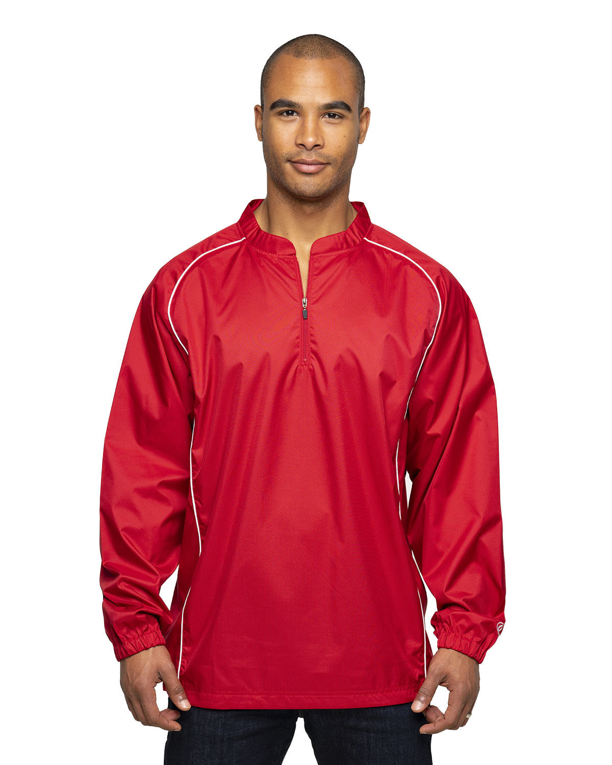 Rawlings Drop Ship Adult 1/4-Zip Poly Dobby Jacket RED