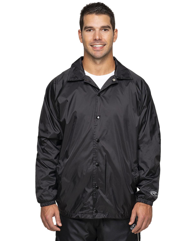 Rawlings Drop Ship Adult Nylon Taffeta Coaches Jacket BLACK