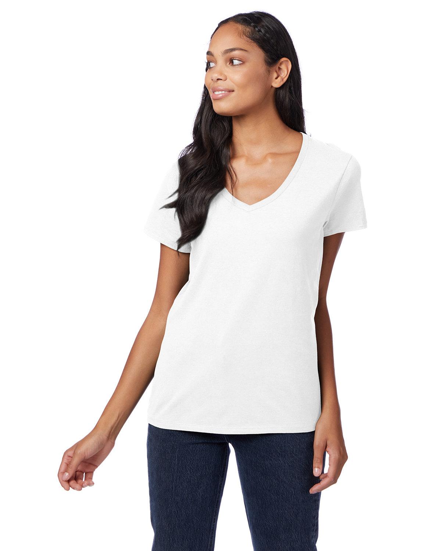 Hanes Ladies' Nano-T® V-Neck T-Shirt WHITE