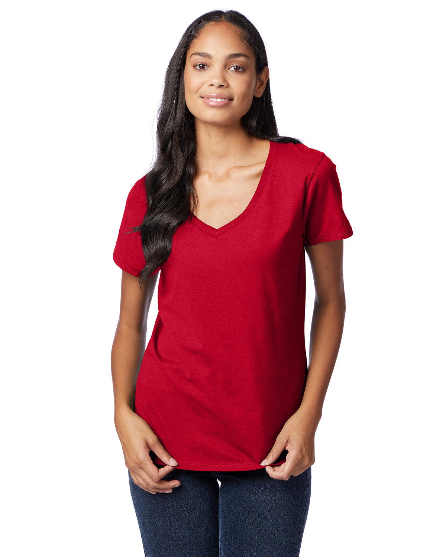 Hanes Ladies' Nano-T® V-Neck T-Shirt DEEP RED