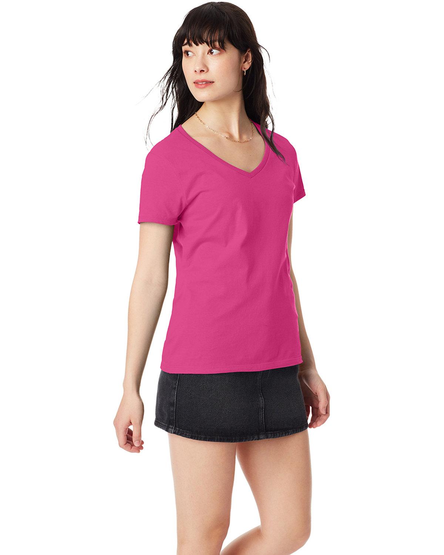 Hanes Ladies' Nano-T® V-Neck T-Shirt WOW PINK