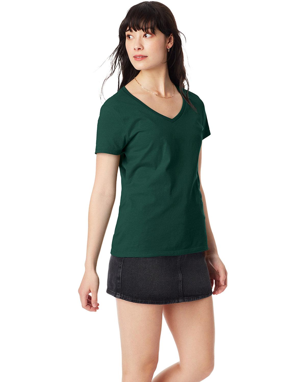 Hanes Ladies' Nano-T® V-Neck T-Shirt DEEP FOREST