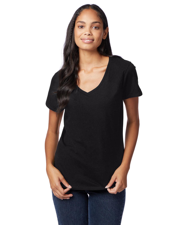 Hanes Ladies' Nano-T® V-Neck T-Shirt BLACK