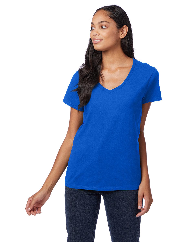 Hanes Ladies' Nano-T® V-Neck T-Shirt DEEP ROYAL