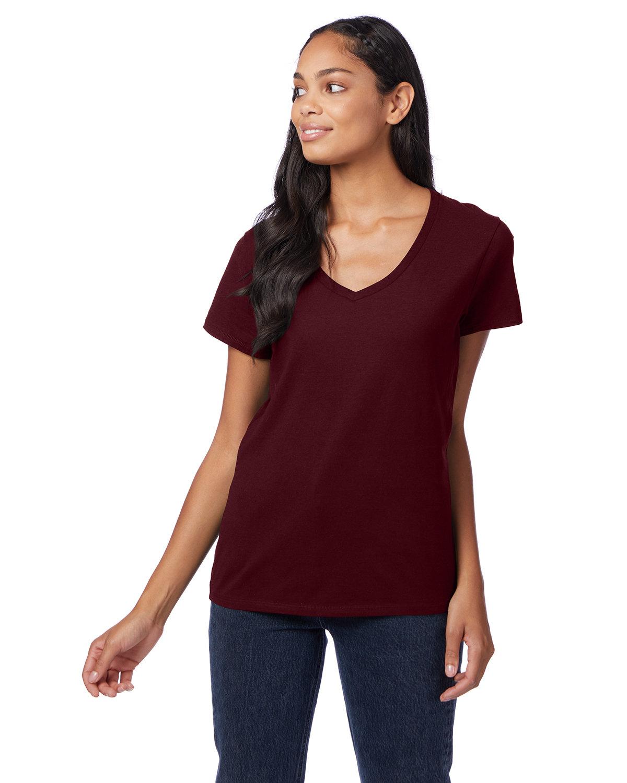 Hanes Ladies' Nano-T® V-Neck T-Shirt MAROON