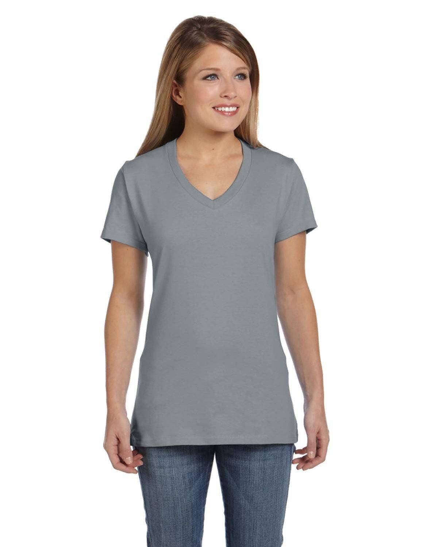 Hanes Ladies' Nano-T® V-Neck T-Shirt VINTAGE GRAY
