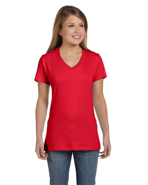 Hanes Ladies' Nano-T® V-Neck T-Shirt ATHLETIC RED