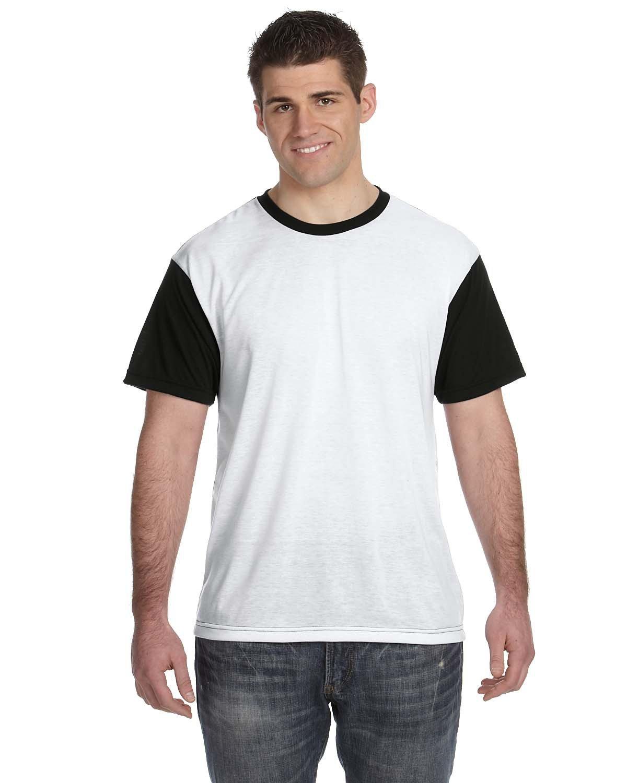 Sublivie Men's Blackout Sublimation T-Shirt WHITE/ BLACK