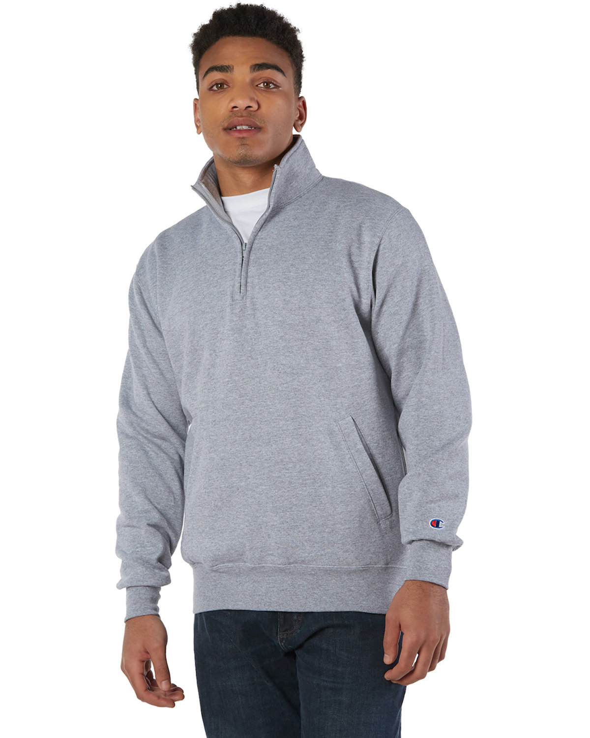 Champion Adult Double Dry Eco® Quarter-Zip Pullover LIGHT STEEL