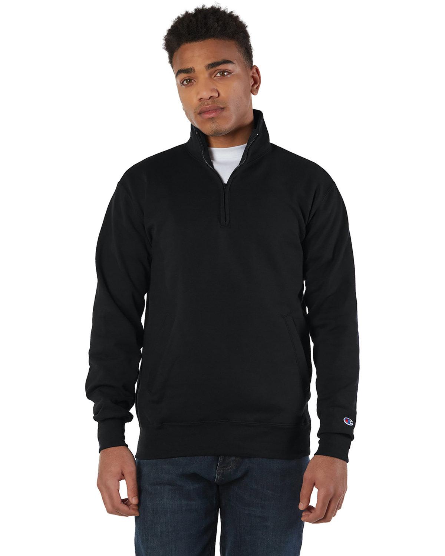 Champion Adult Double Dry Eco® Quarter-Zip Pullover BLACK