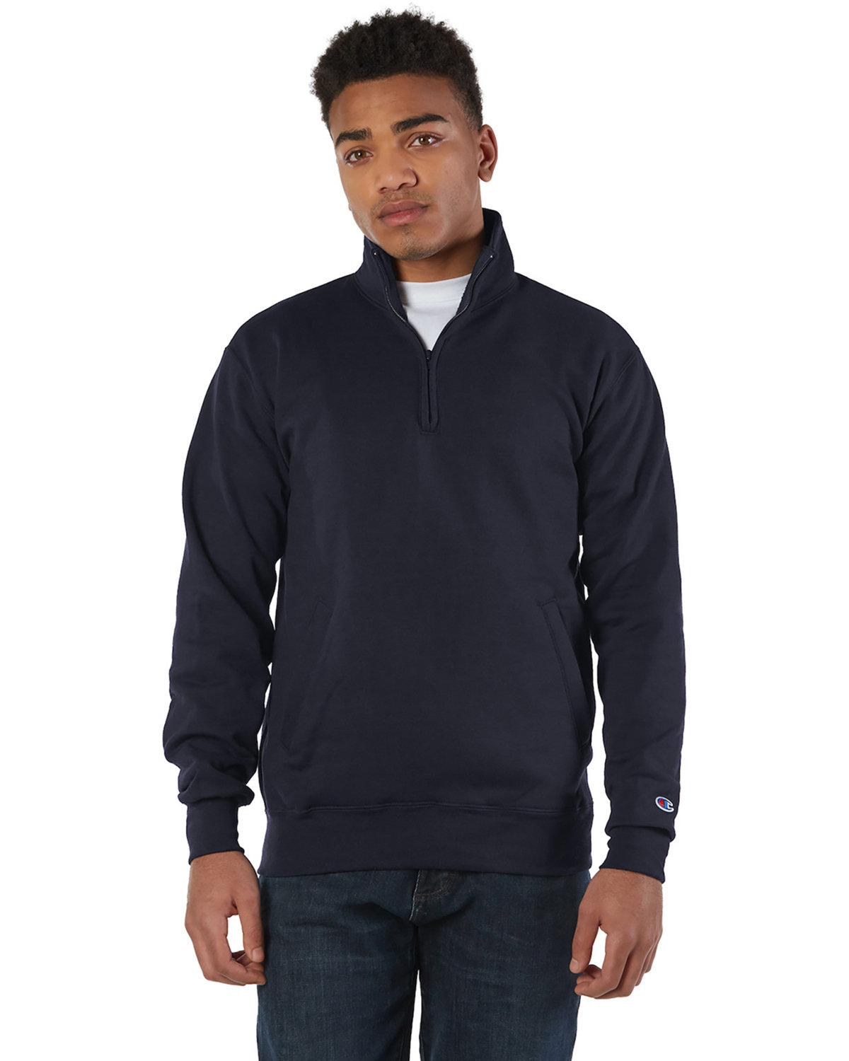 Champion Adult Double Dry Eco® Quarter-Zip Pullover NAVY