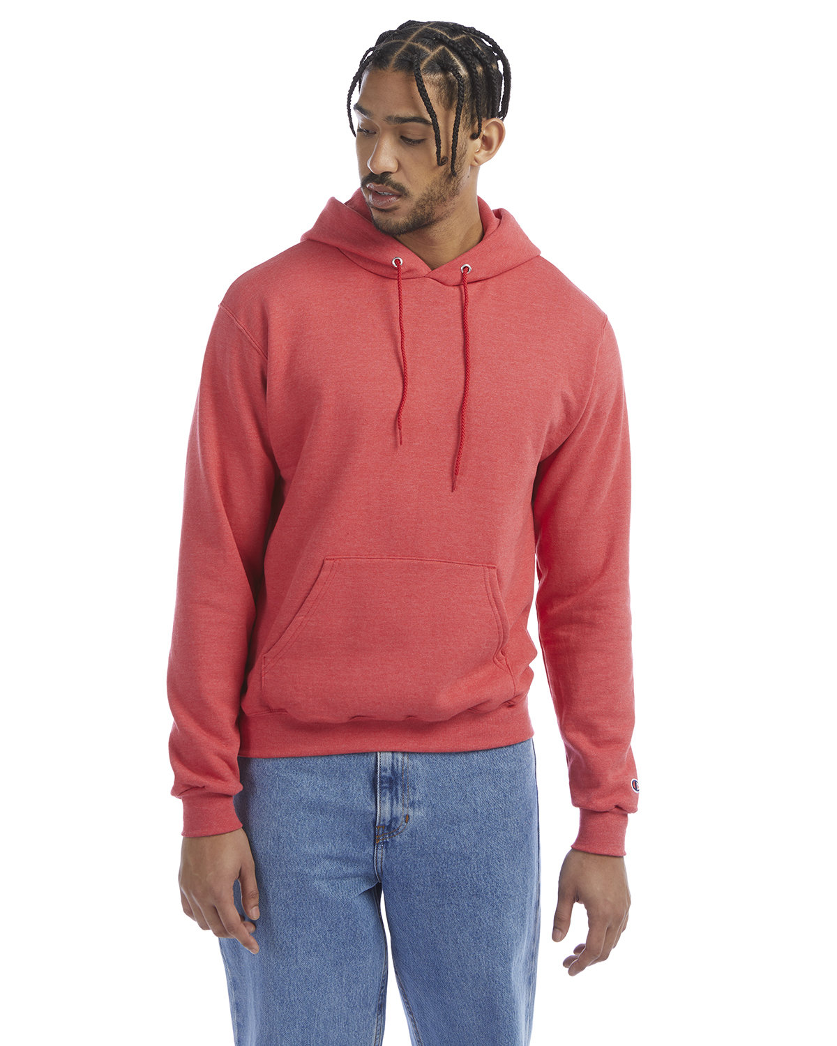 Champion Adult Double Dry Eco® Pullover Hooded Sweatshirt SCARLET HEATHER