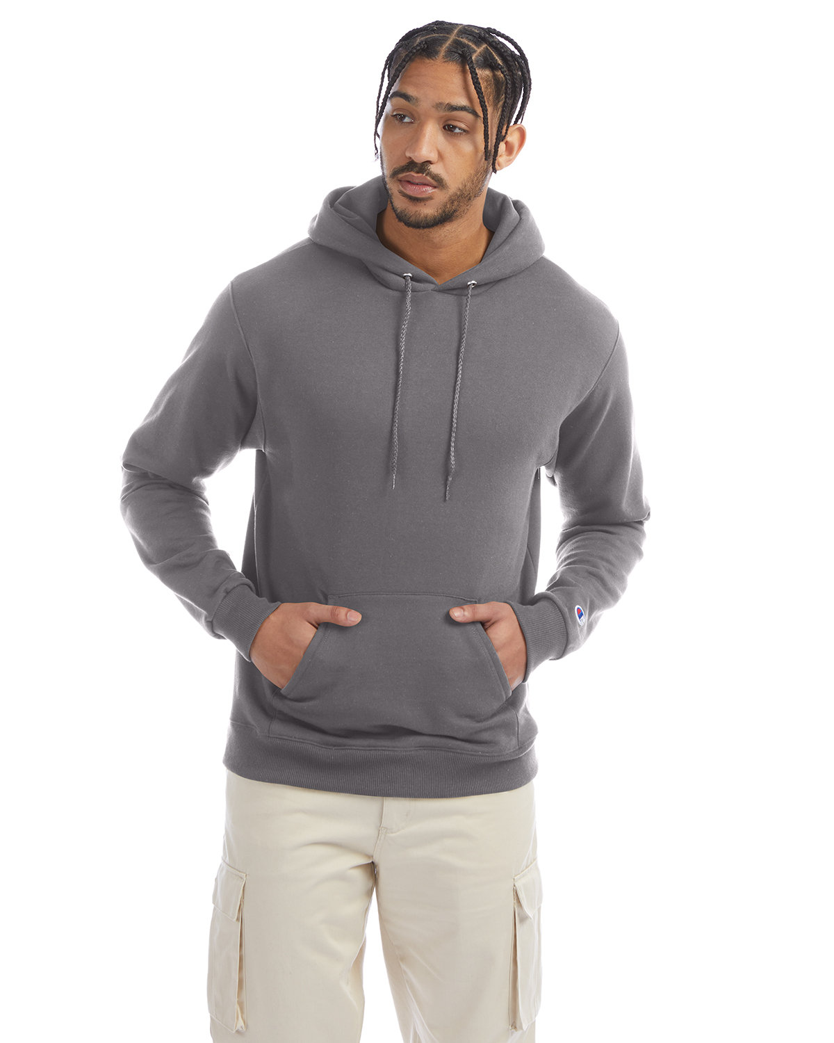Champion Adult Double Dry Eco® Pullover Hooded Sweatshirt STONE GRAY