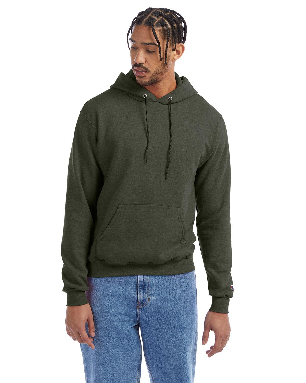 Champion Adult Double Dry Eco® Pullover Hooded Sweatshirt DARK GREEN HTHR