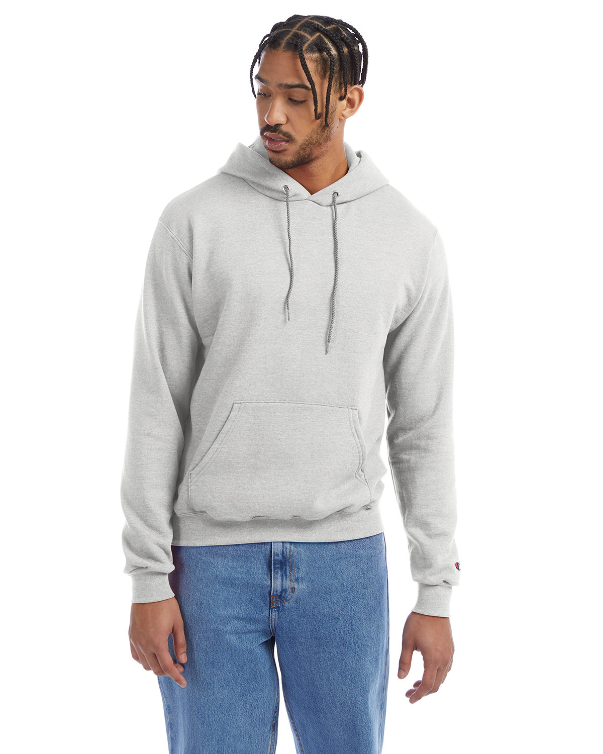 Champion Adult Double Dry Eco® Pullover Hooded Sweatshirt SILVER GREY
