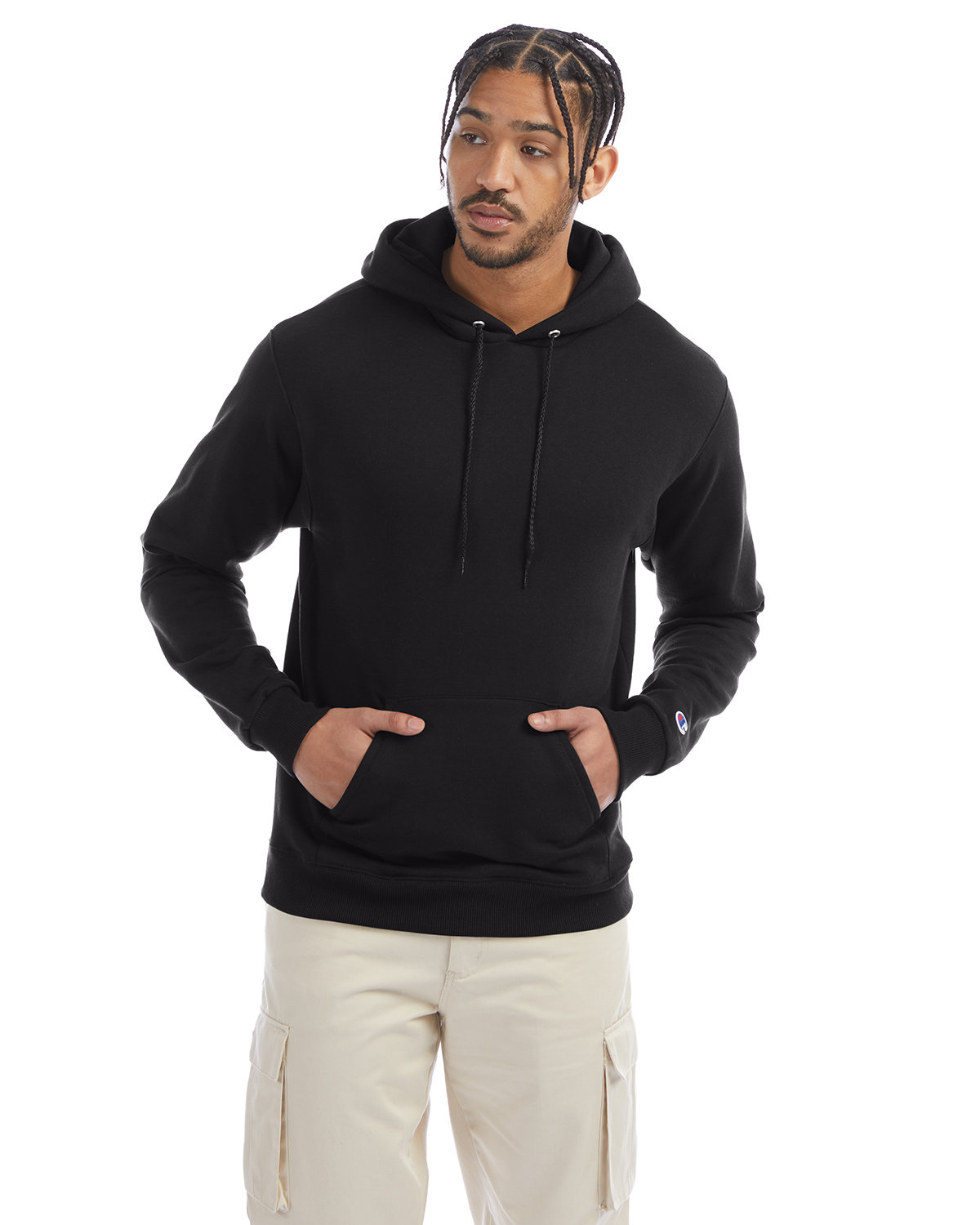 Champion Adult Double Dry Eco® Pullover Hooded Sweatshirt BLACK