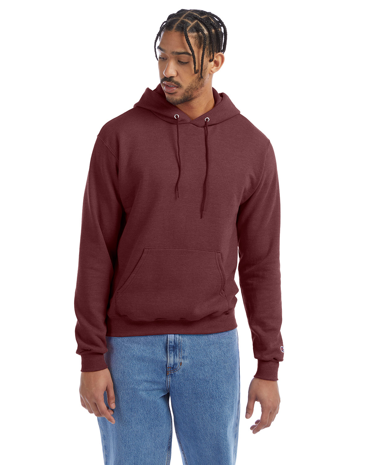 Champion Adult Double Dry Eco® Pullover Hooded Sweatshirt MAROON HEATHER