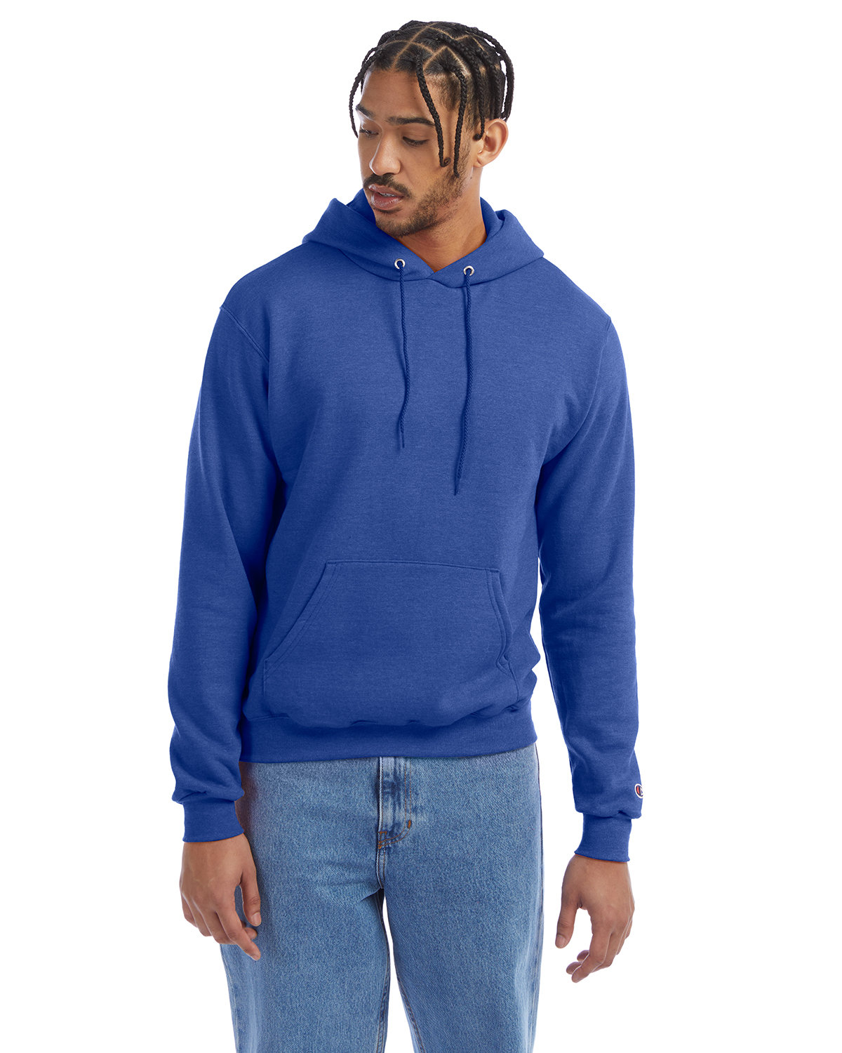 Champion Adult Double Dry Eco® Pullover Hooded Sweatshirt ROYAL BLUE HTHR