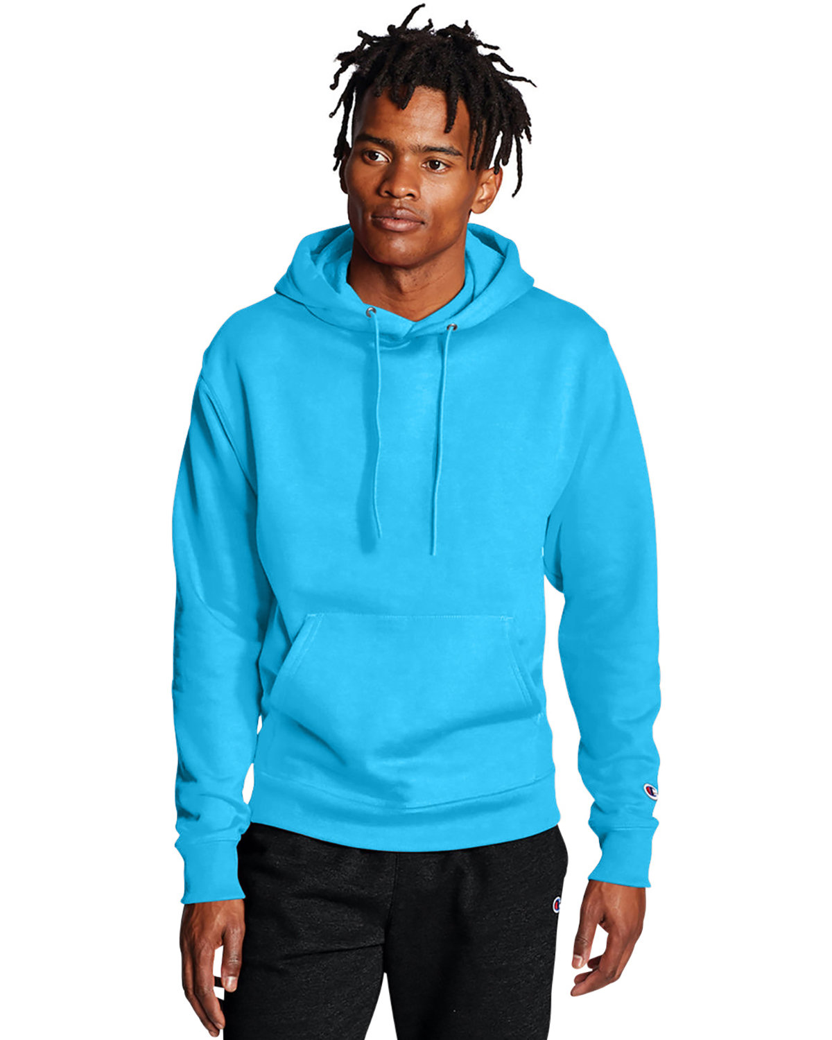 Champion Adult Double Dry Eco® Pullover Hooded Sweatshirt BLUE LAGOON
