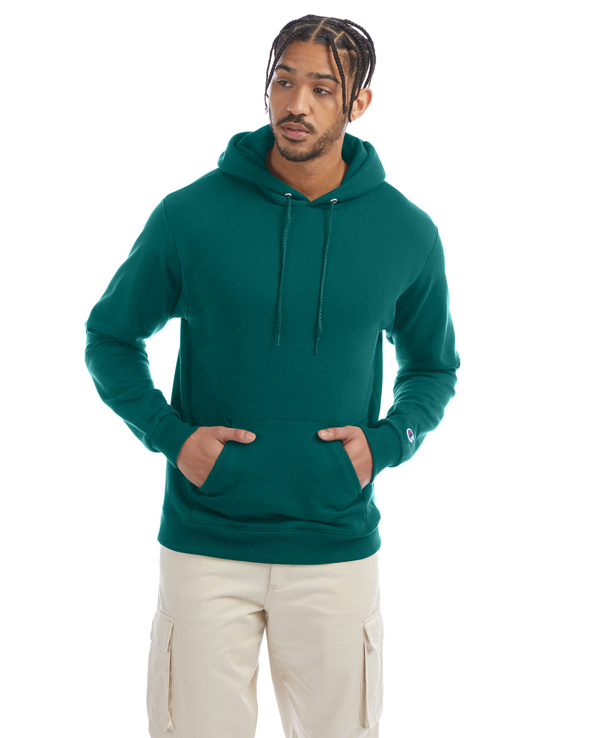 Champion Adult Double Dry Eco® Pullover Hooded Sweatshirt EMERALD GREEN