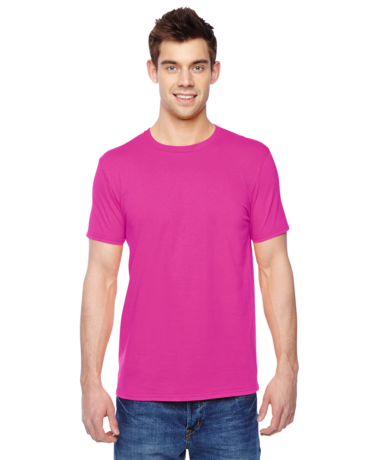 Fruit of the Loom Adult Sofspun® Jersey Crew T-Shirt CYBER PINK