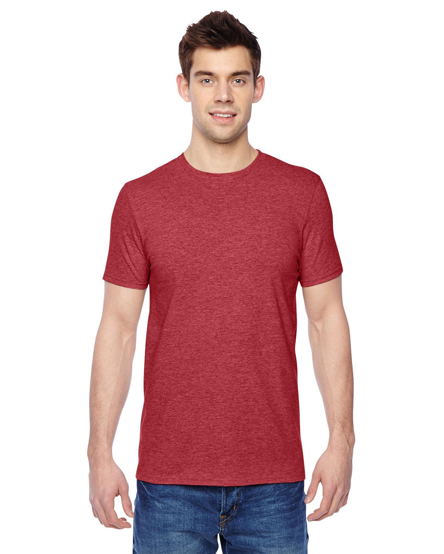 Fruit of the Loom Adult Sofspun® Jersey Crew T-Shirt BRICK HEATHER