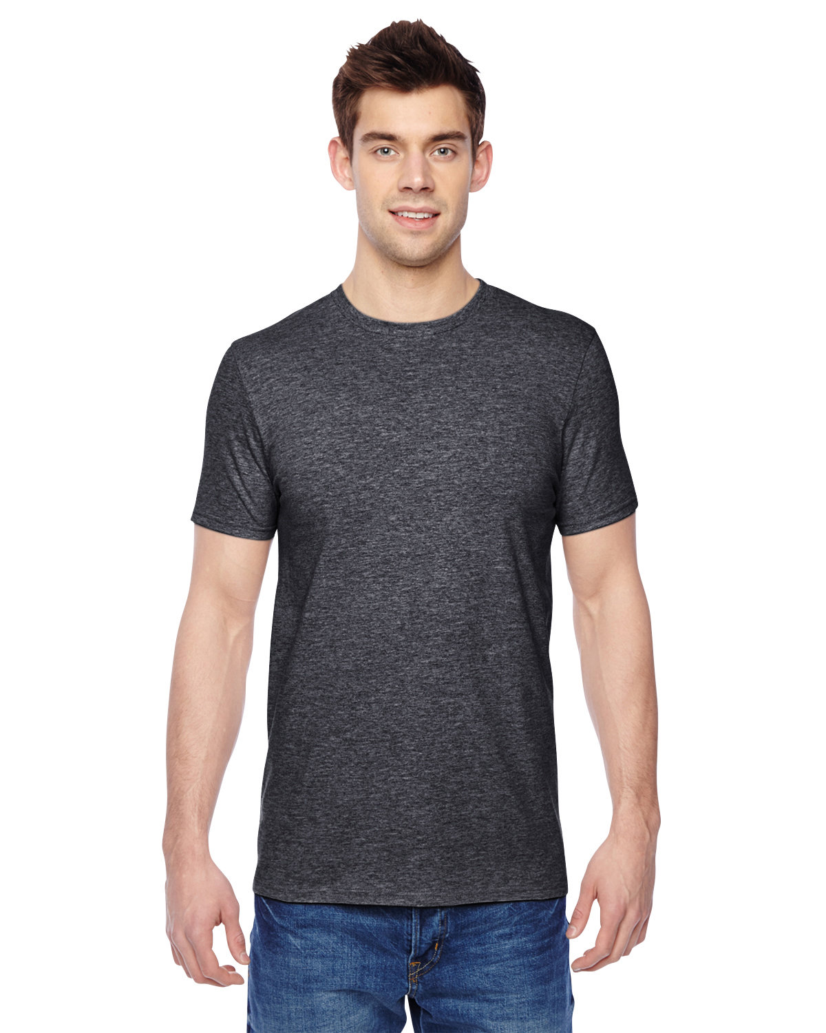 Fruit of the Loom Adult Sofspun® Jersey Crew T-Shirt CHARCOAL HEATHER