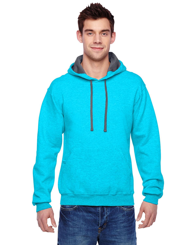 Fruit of the Loom Adult SofSpun® Hooded Sweatshirt CARIB BLUE HTHR