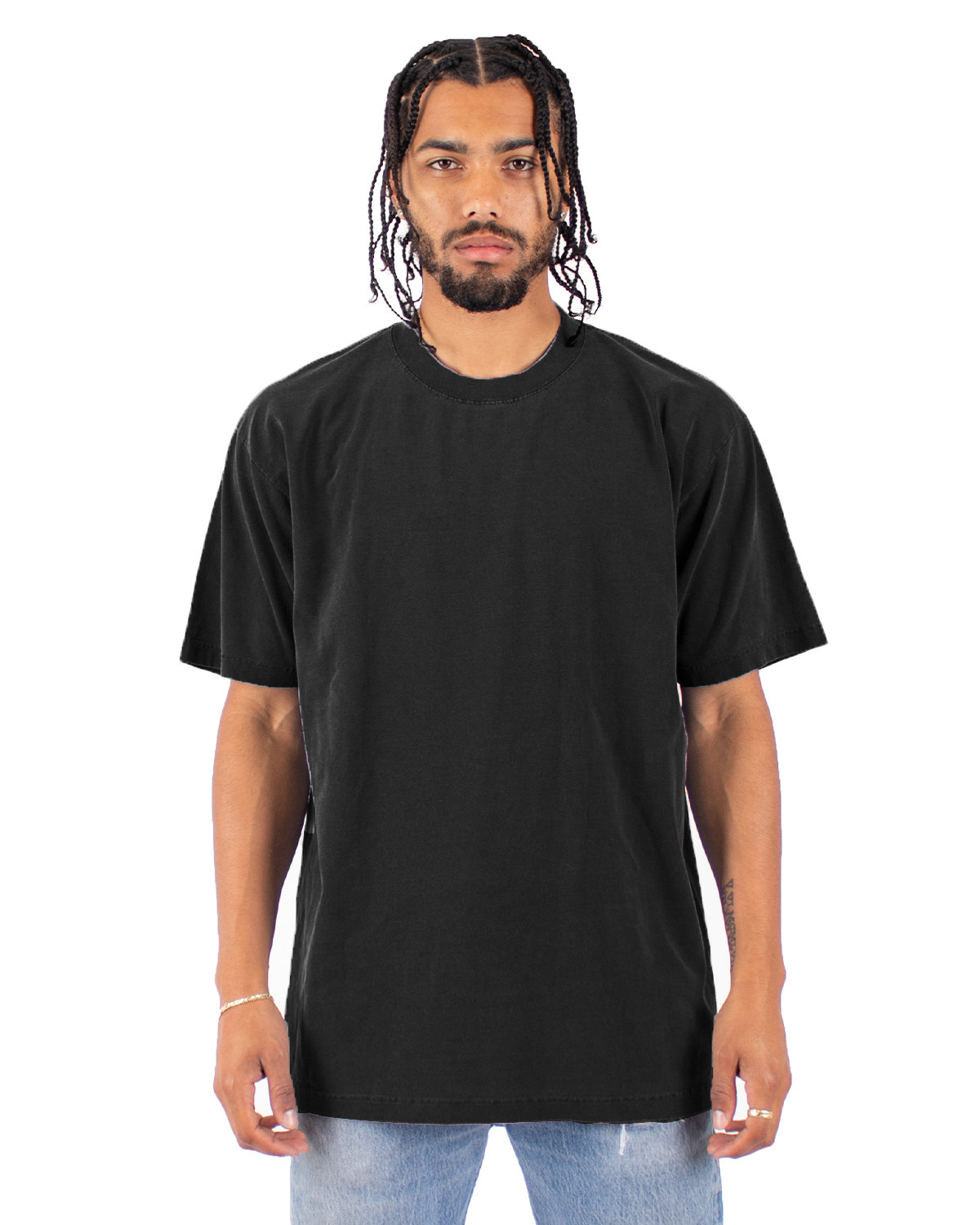 Shaka Wear Drop Ship Garment-Dyed Crewneck T-Shirt BLACK