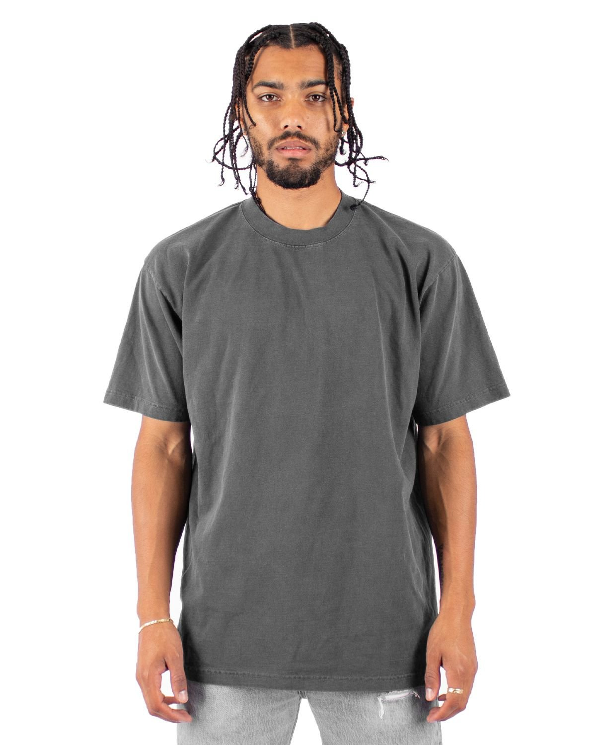 Shaka Wear Drop Ship Garment-Dyed Crewneck T-Shirt CEMENT
