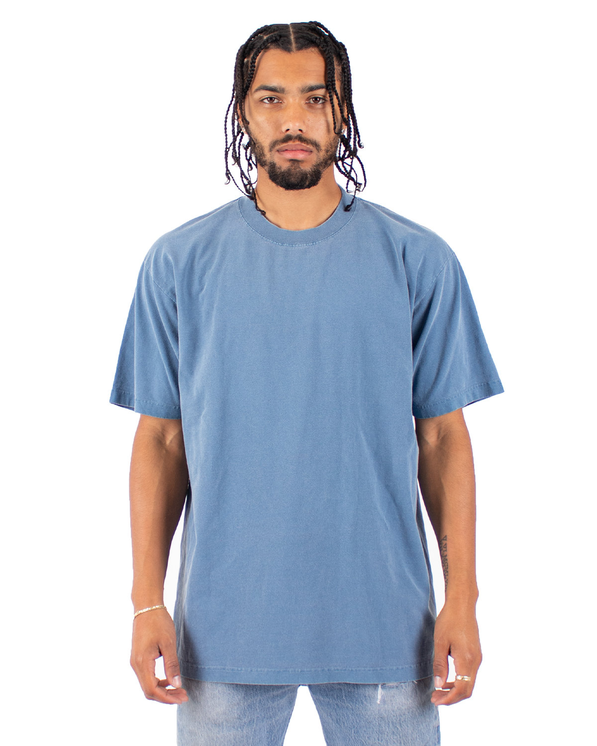 Shaka Wear Drop Ship Garment-Dyed Crewneck T-Shirt WASHED DENIM