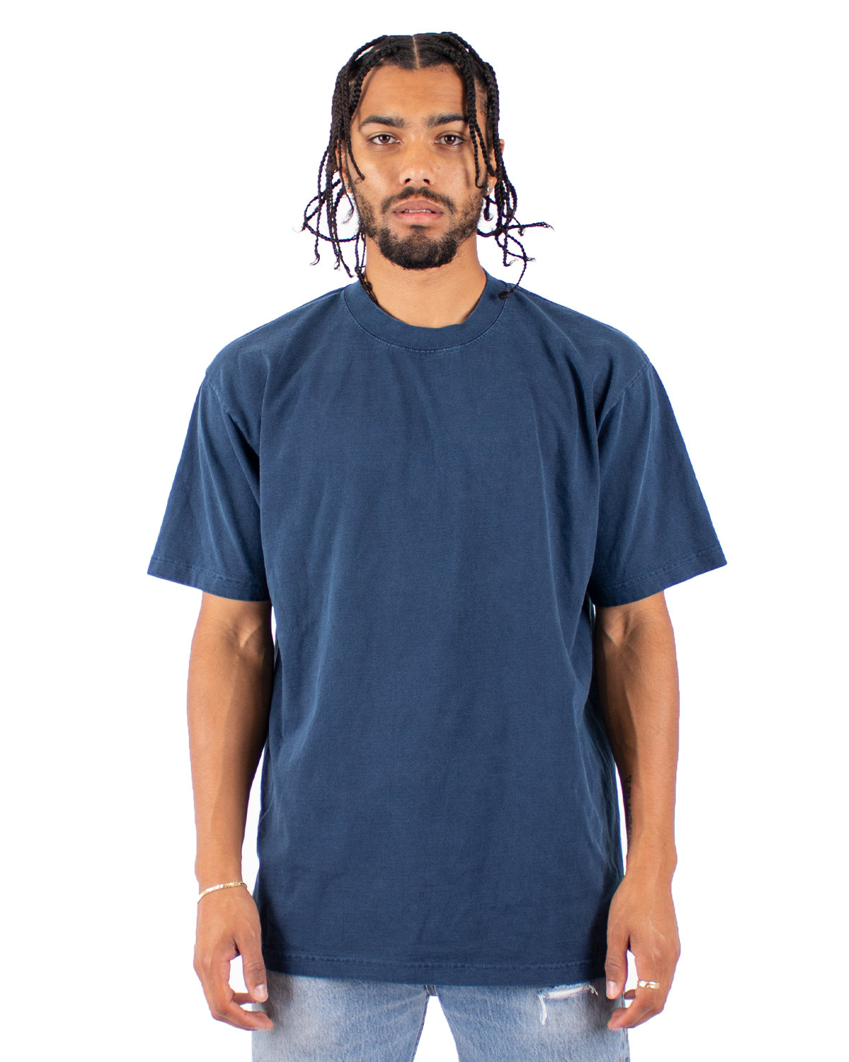 Shaka Wear Drop Ship Garment-Dyed Crewneck T-Shirt MIDNIGHT NAVY