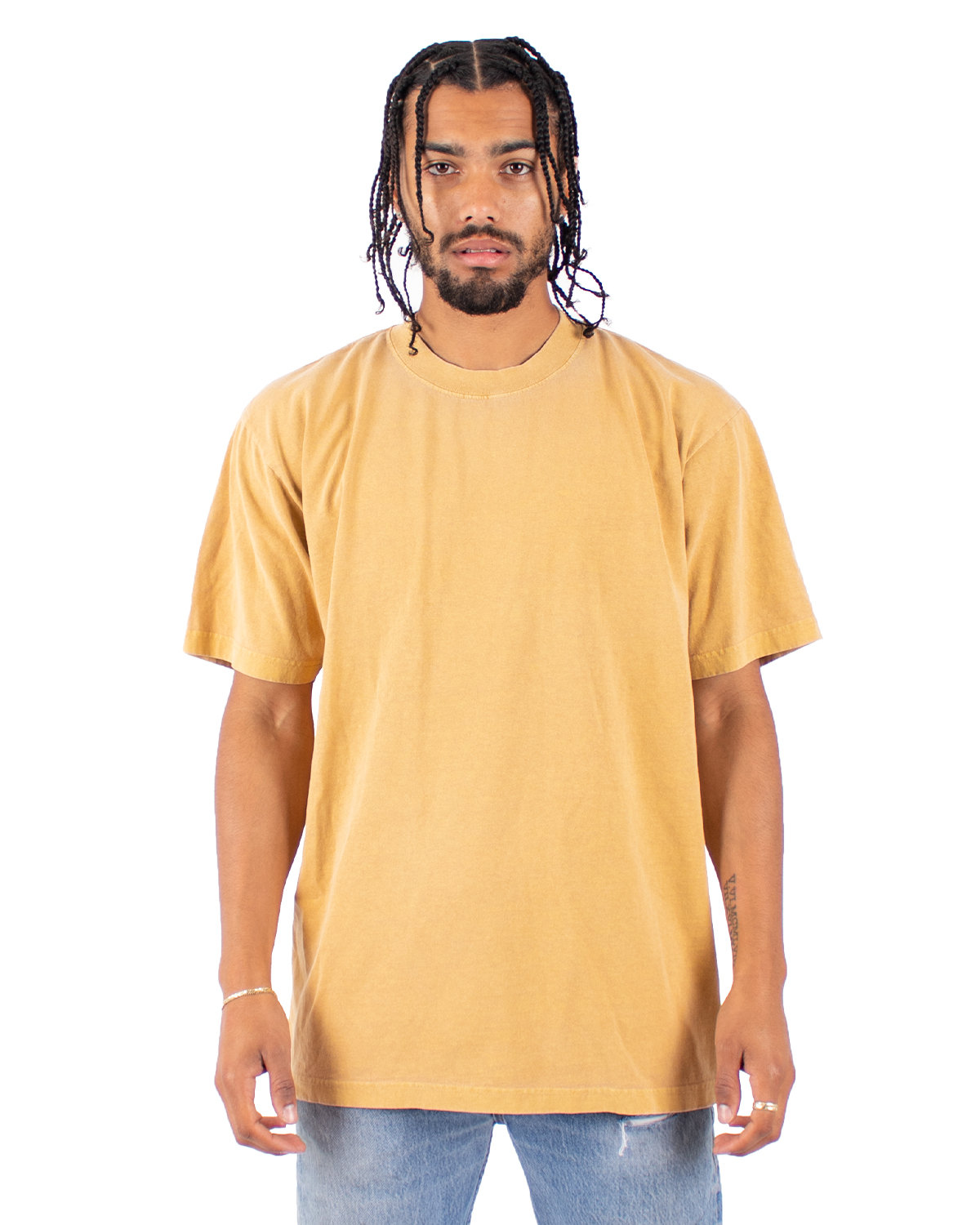 Shaka Wear Drop Ship Garment-Dyed Crewneck T-Shirt MUSTARD