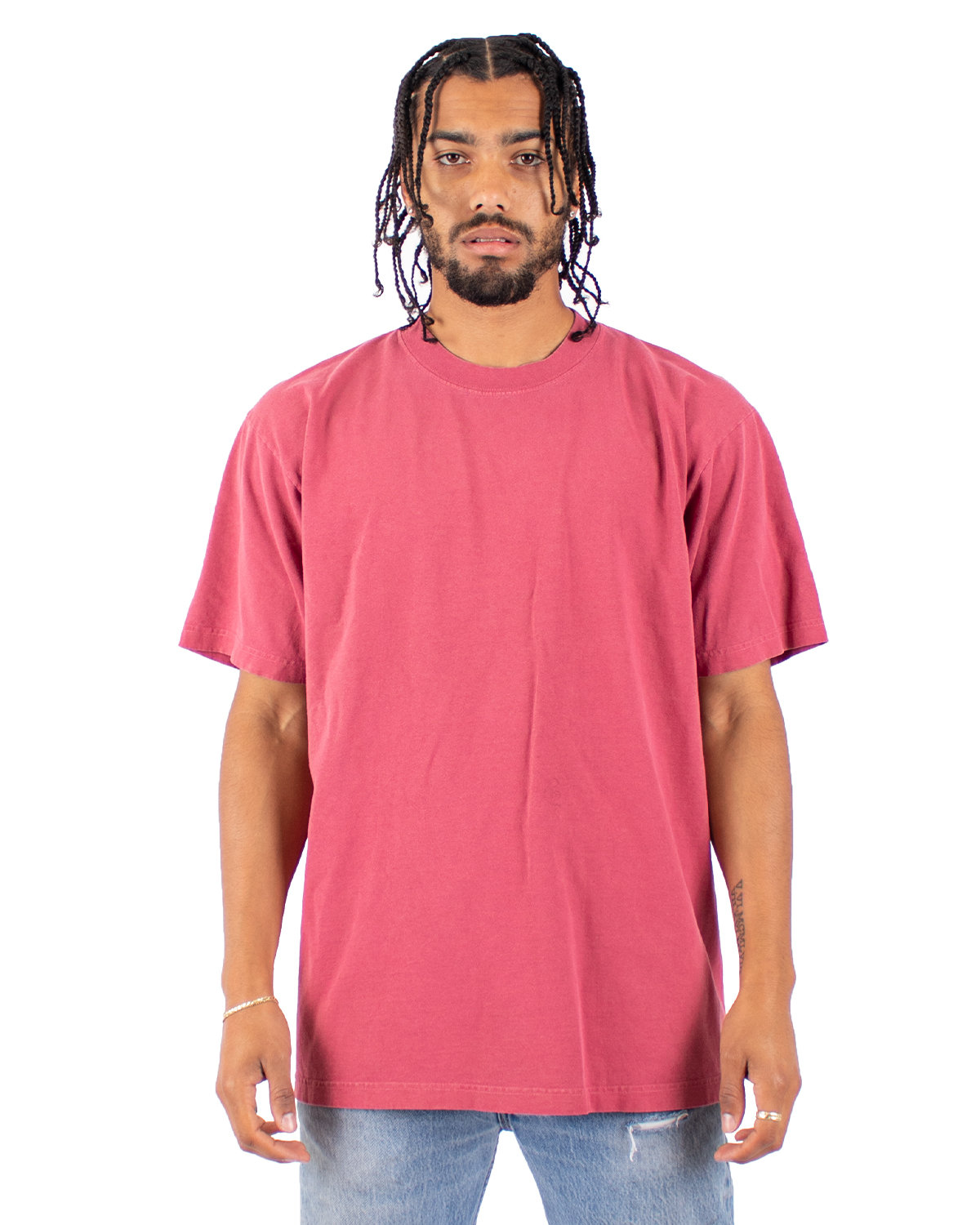 Shaka Wear Drop Ship Garment-Dyed Crewneck T-Shirt CLAY RED