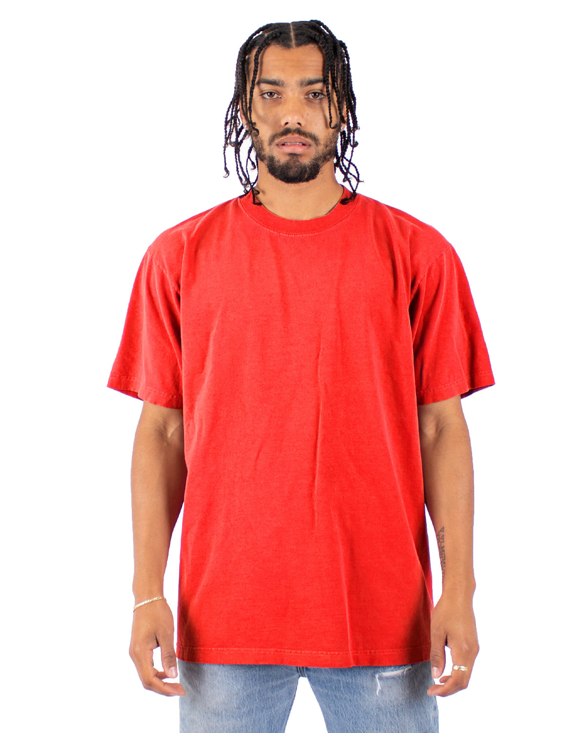 Shaka Wear Drop Ship Garment-Dyed Crewneck T-Shirt CHERRY TOMATO
